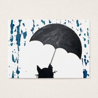 Whimsical Cat under Umbrella Business Card