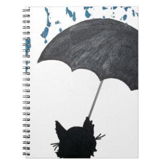 Whimsical Cat under Umbrella Notebook