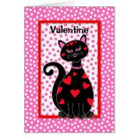 Whimsical Cat Valentine - Be Mine Card