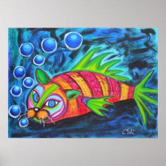 Whimsical Catfish Poster