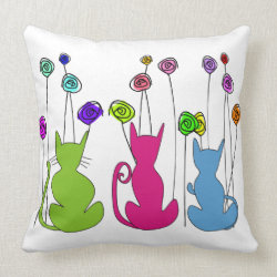 Whimsical Cats and Flowers Pillow