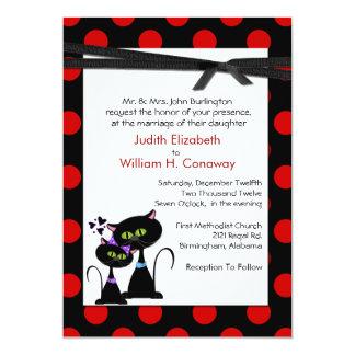 Whimsical Cats and Polka Dots Wedding Invitation