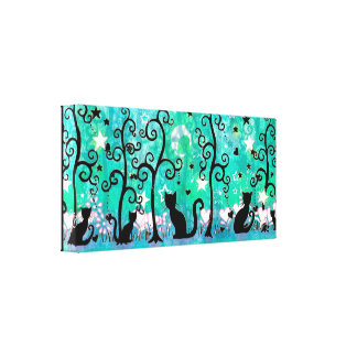 Whimsical Cats and Trees Silhouette Artwork Gallery Wrap Canvas