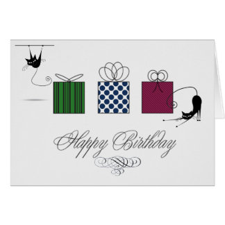 Whimsical Cats Birthday Card