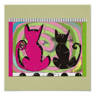 Whimsical Cats Canvas Art Poster