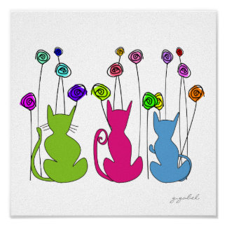 Whimsical Cats Canvas Watercolor Art Poster