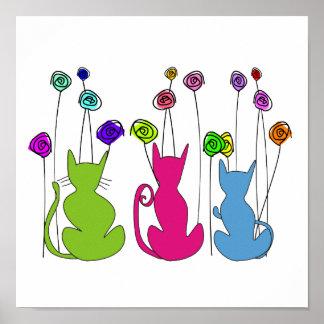 Whimsical Cats Framed Art Poster