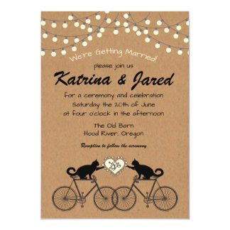 Whimsical Cats on Bikes Wedding or Elopement Party Card