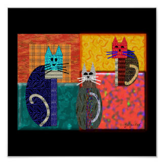Whimsical Cats on CANVAS Art Poster
