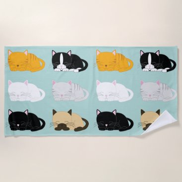 Beach Themed Whimsical Cats Pattern Beach Towel