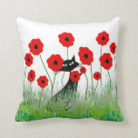 Whimsical Cats Pillow Black Cats and Poppies