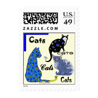 Whimsical Cats Postage Stamp