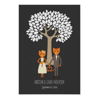 Whimsical Cats Wedding Fingerprint Signature Tree Poster