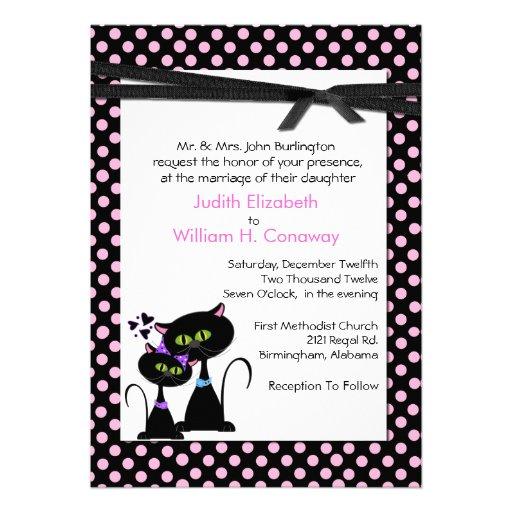 Whimsical Cats Wedding Invitation 5 X 7 Invitation Card