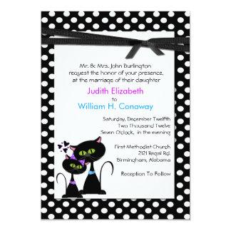 "Whimsical Cats Wedding Invitation 5"" X 7"" Invitation Card"