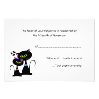 Whimsical Cats Wedding RSVP Announcement