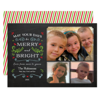 Whimsical Chalkboard Holiday Photo Card