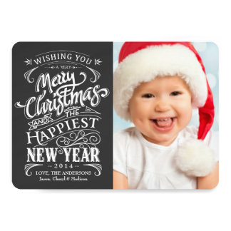 Whimsical Chalkboard Merry Christmas Photo Cards