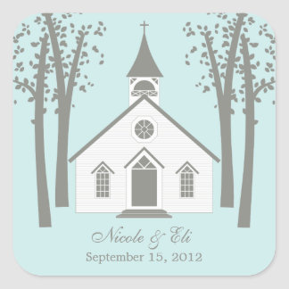 Whimsical Chapel Favor Sticker Square Stickers