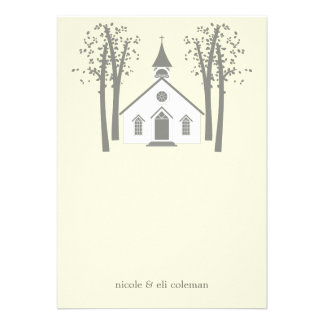 Whimsical Chapel Wedding Flat Thank You Card Personalized Invitation