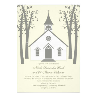 Whimsical Chapel Wedding Invitation Custom Invitations