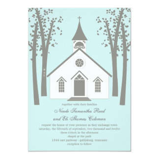 "Whimsical Chapel Wedding Invitation 5"" X 7"" Invitation Card"