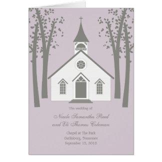 Whimsical Chapel Wedding Program Card Greeting Cards