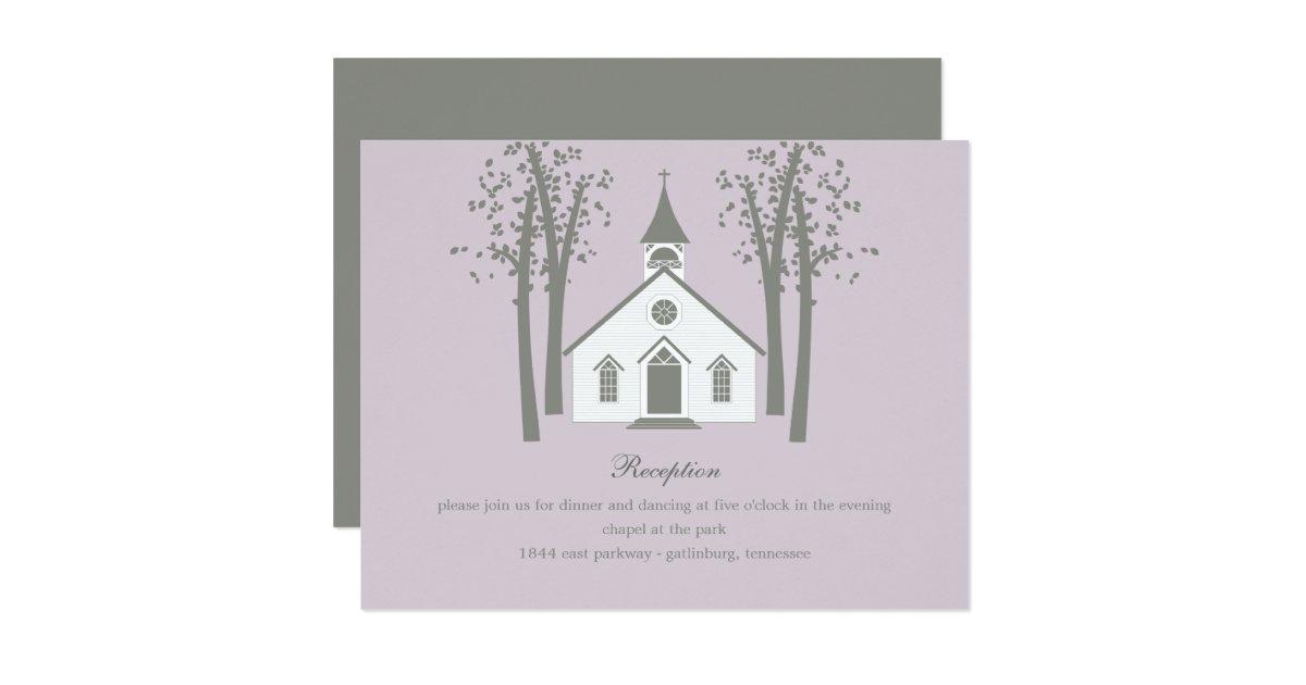 Whimsical Chapel Wedding Reception Enclosure Card