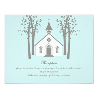 Whimsical Chapel Wedding Reception Enclosure Card Invitations