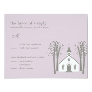 Whimsical Chapel Wedding RSVP / Response Card Personalized Invitations