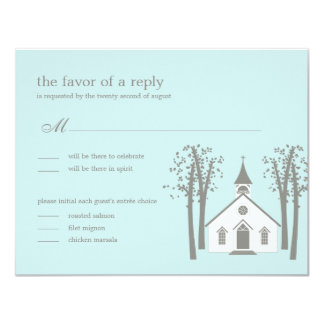 "Whimsical Chapel Wedding RSVP / Response Card 4.25"" X 5.5"" Invitation Card"
