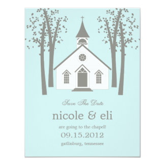 Whimsical Chapel Wedding Save The Date Card