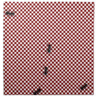 Whimsical Checkerboard & Ants Cotton Napkin