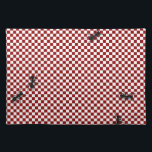 "Whimsical Checkerboard &amp; Ants Place Mat<br><div class=""desc"">Whimsical cotton place mat done in  a red and white picnic look checkerboard pattern.  Graphics of big black ants look like they are walking around on the place mat.  Great for picnics or kitchen dinette table.</div>"