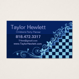 Whimsical Checkerboard Vines All Purpose template Business Card