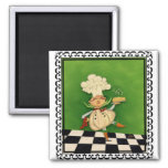 Whimsical Chef 2 Inch Square Magnet