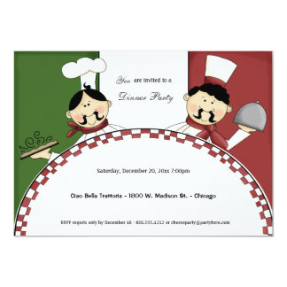"""Whimsical Chef Dinner Party Invite 5"""" X 7"""" Invitation Card"""