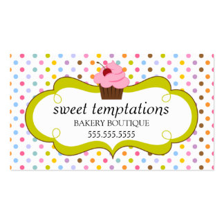 Whimsical Cherry Cupcake Bakery Business Cards
