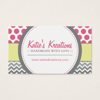 Whimsical Chevron and Dots Business Card