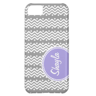 Whimsical Chevron Wave Pattern with Name Cover For iPhone 5C