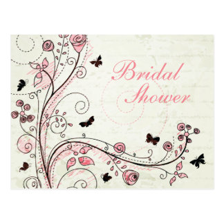 Whimsical chic floral swirls bridal shower invite post card