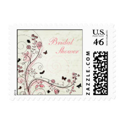 Whimsical chic floral swirls bridal shower stamps stamp