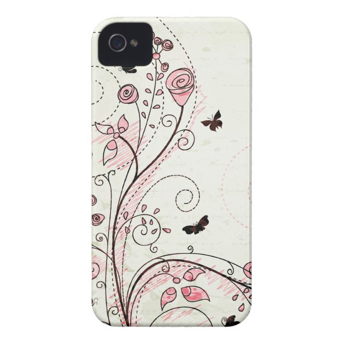 Whimsical chic floral swirls iphone 4 case