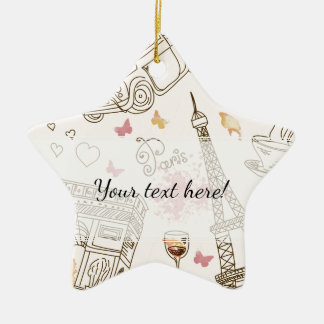 Whimsical Chic Girly Pink Paris Ceramic Ornament