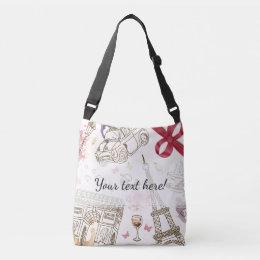 Whimsical Chic Girly Pink Paris Crossbody Bag