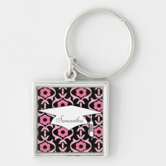 whimsical chic pink flower damask graduation Silver-Colored square keychain