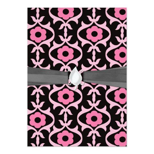 whimsical chic pink flower damask on black card