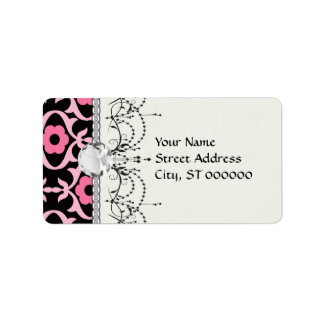whimsical chic pink flower damask on black label