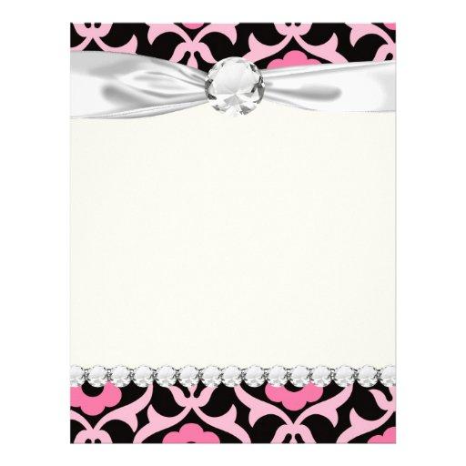 whimsical chic pink flower damask on black letterhead template