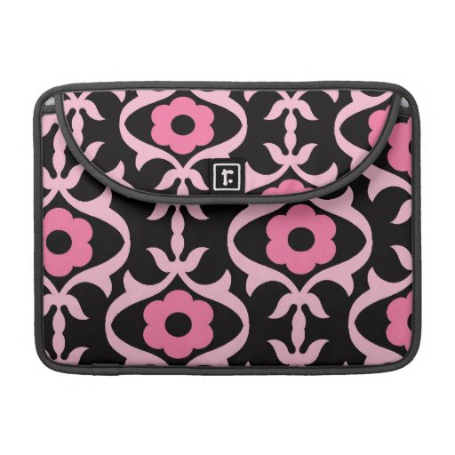 whimsical chic pink flower damask on black sleeve for MacBook pro